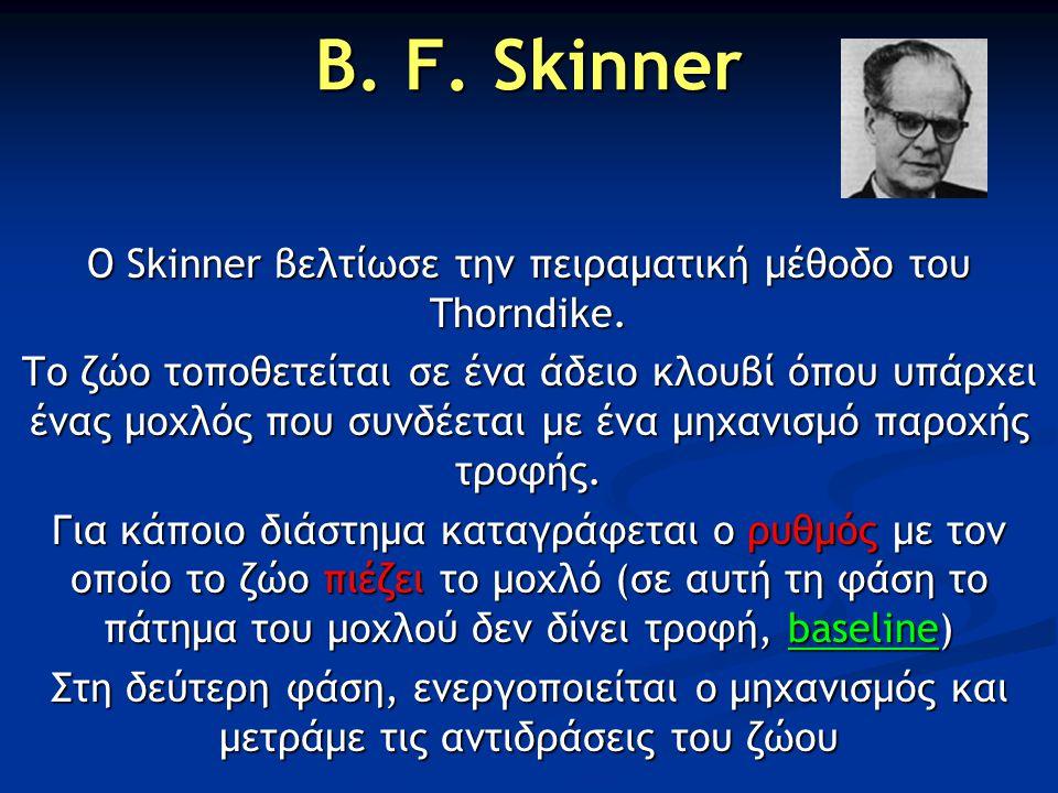 Ο Skinner βελτίωσε την πειραματική μέθοδο του Thorndike.