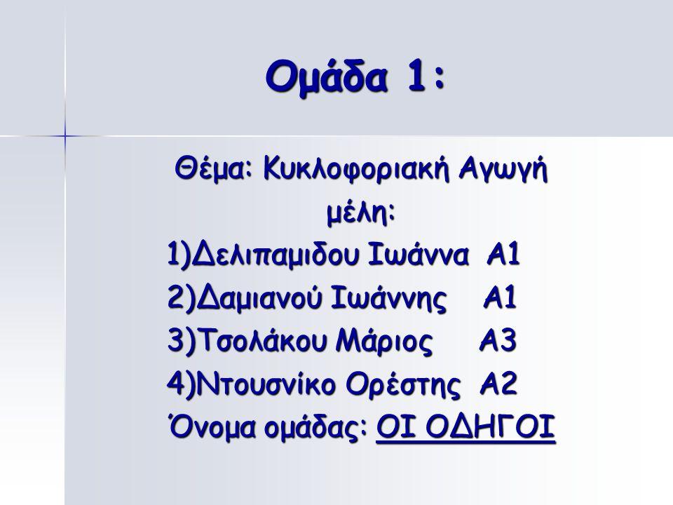 Ομάδα 1: Θέμα: Κυκλοφοριακή Αγωγή μέλη: 1)Δελιπαμιδου Ιωάννα Α1