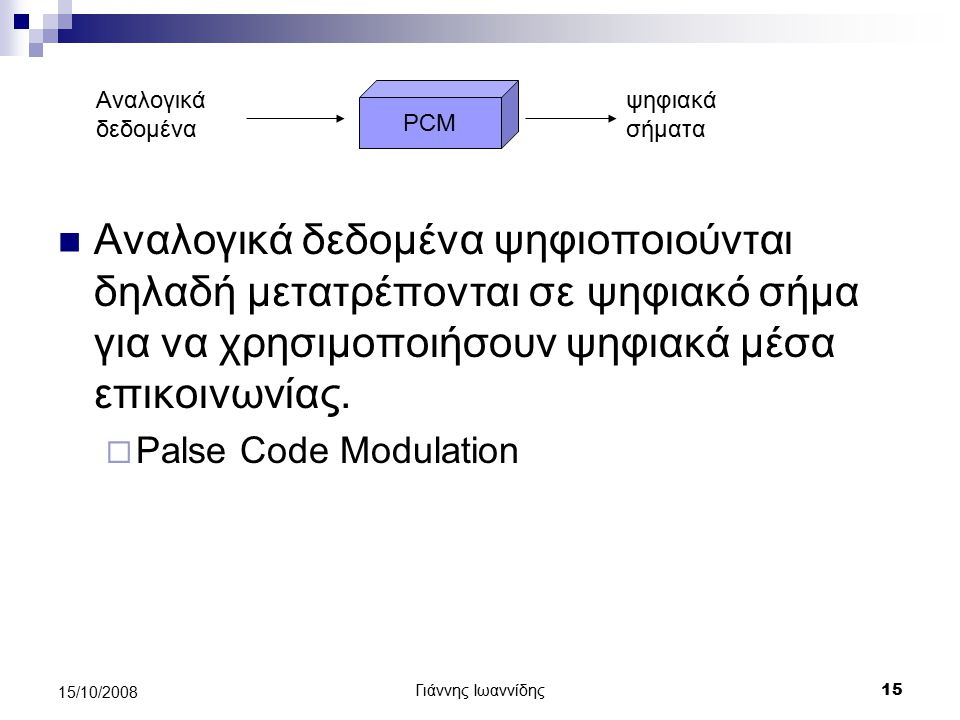 Αναλογικά δεδομένα PCM. ψηφιακά σήματα.