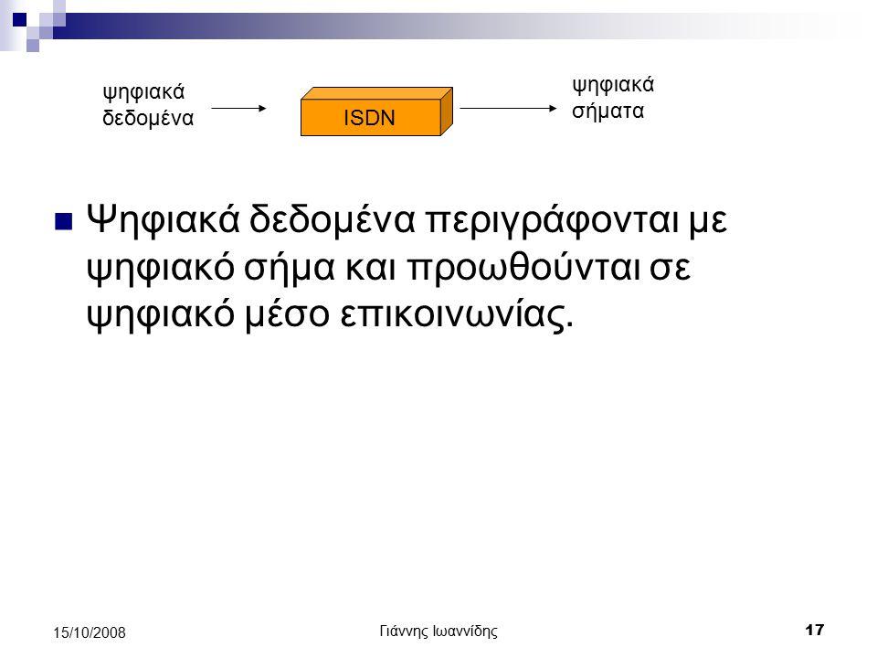 ψηφιακά σήματα ψηφιακά δεδομένα. ISDN. Ψηφιακά δεδομένα περιγράφονται με ψηφιακό σήμα και προωθούνται σε ψηφιακό μέσο επικοινωνίας.