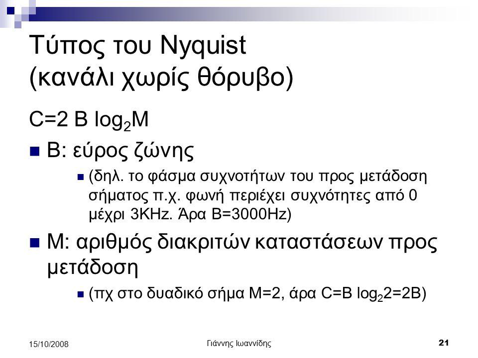 Τύπος του Nyquist (κανάλι χωρίς θόρυβο)