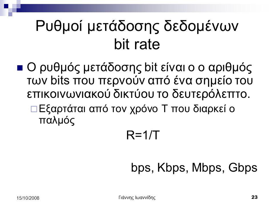 Ρυθμοί μετάδοσης δεδομένων bit rate