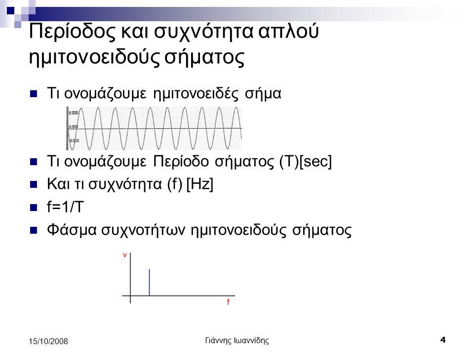 Περίοδος και συχνότητα απλού ημιτονοειδούς σήματος