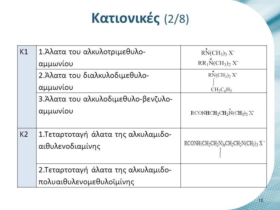 Κατιονικές (3/8) Κ3 1.Άλατα της αλκυλο-πυριδίνης