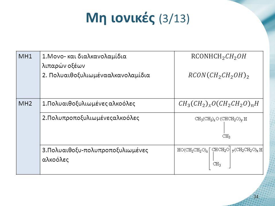 Μη ιονικές (4/13) ΜΗ3 Πολυαιθοξυλιωμένα λάδια και λίπη ΜΗ4