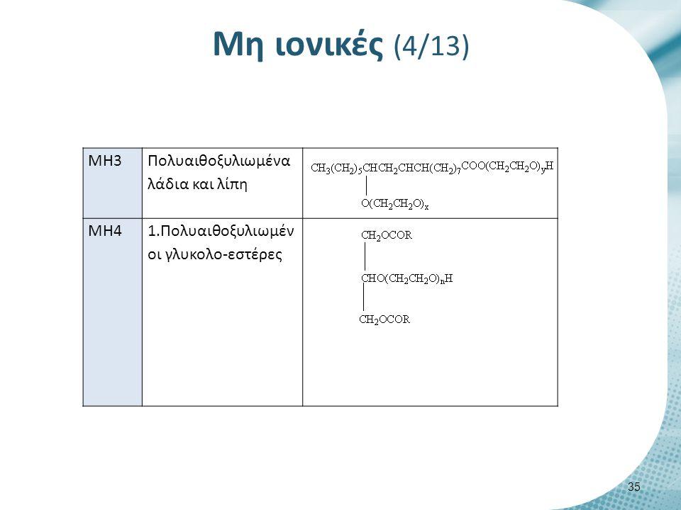 Μη ιονικές (5/13) ΜΗ4 2.Πολυαιθοξυλιωμένοι σορβιτολο- εστέρες ΜΗ5