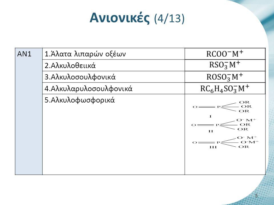 Ανιονικές (5/13) ΑΝ2 1.Άλατα των σουλφονυλο-ηλεκτρικών