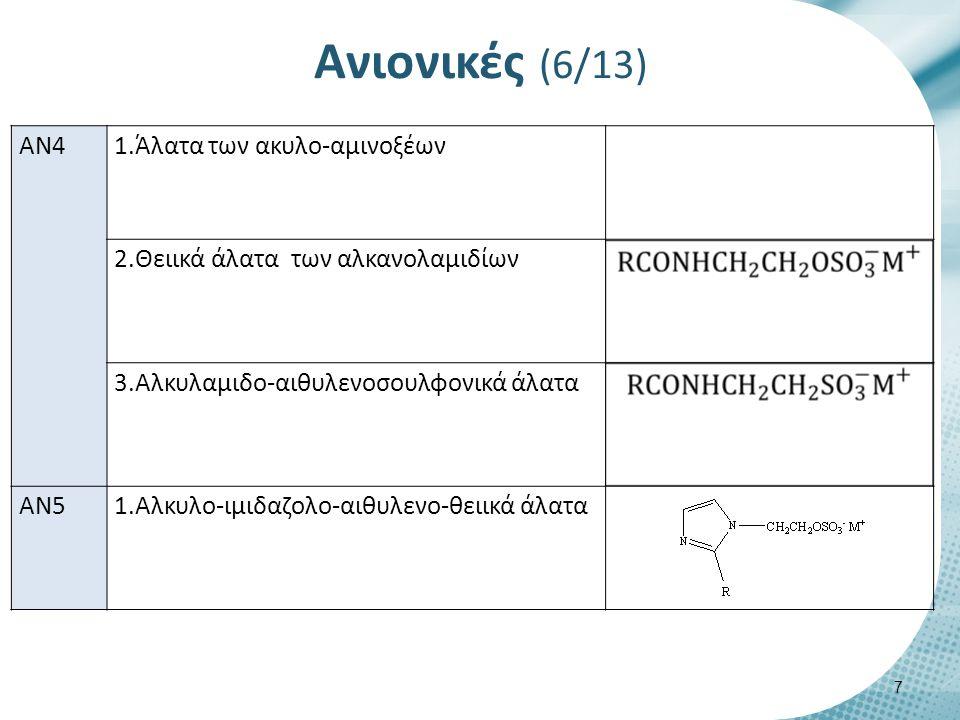 Ανιονικές (7/13) AN1.1 Άλατα λιπαρών οξέων (Carboxylate salts) R(CH2)n COO- M+ R(CH2CH2CH2CH2CH2CH2CH2CH2) COO- M+