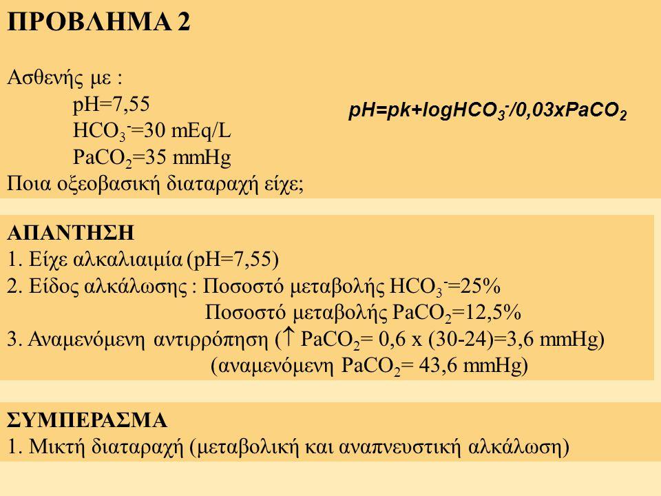 ΠΡΟΒΛΗΜΑ 2 Ασθενής με : pH=7,55 HCO3-=30 mEq/L PaCO2=35 mmHg