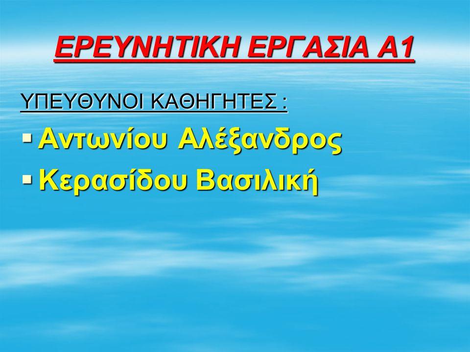 ΕΡΕΥΝΗΤΙΚΗ ΕΡΓΑΣΙΑ Α1 Αντωνίου Αλέξανδρος Κερασίδου Βασιλική