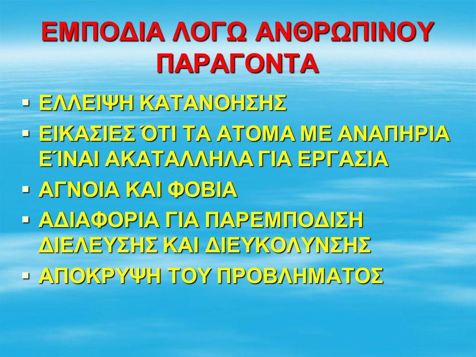ΕΜΠΟΔΙΑ ΛΟΓΩ ΑΝΘΡΩΠΙΝΟΥ ΠΑΡΑΓΟΝΤΑ