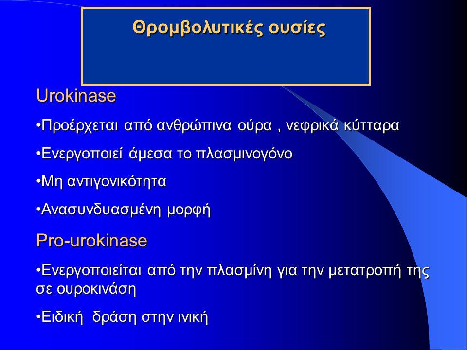 Θρομβολυτικές ουσίες Urokinase Pro-urokinase