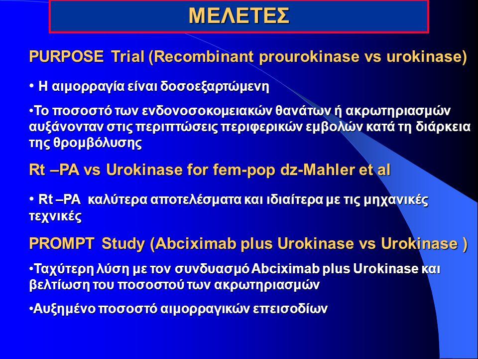 ΜΕΛΕΤΕΣ PURPOSE Trial (Recombinant prourokinase vs urokinase)