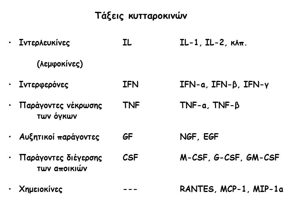 Τάξεις κυτταροκινών Ιντερλευκίνες IL IL-1, IL-2, κλπ. (λεμφοκίνες)