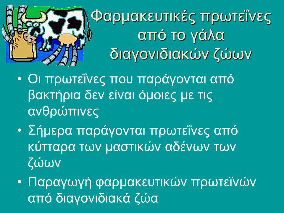 Φαρμακευτικές πρωτεΐνες από το γάλα διαγονιδιακών ζώων