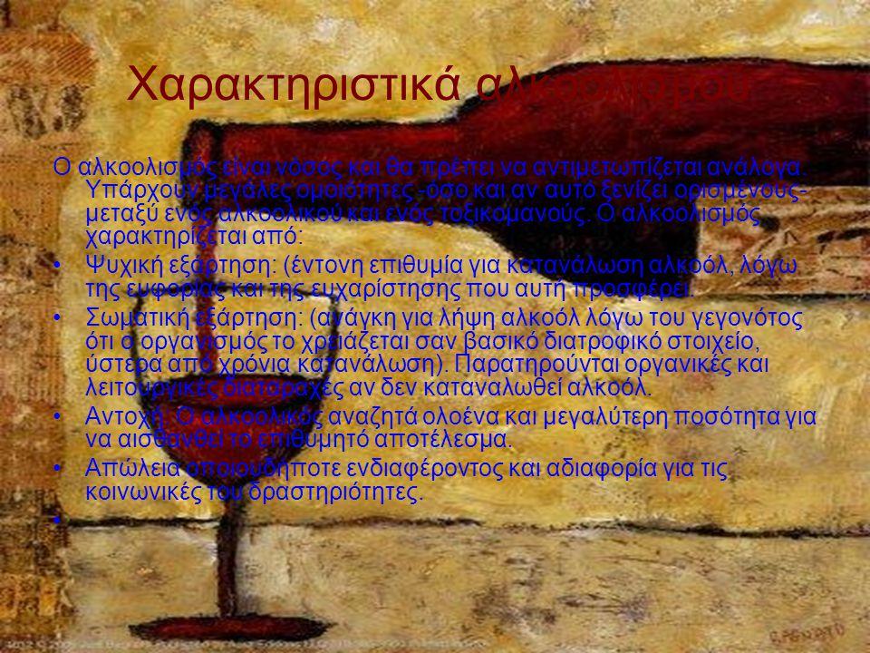 Χαρακτηριστικά αλκοολισμού