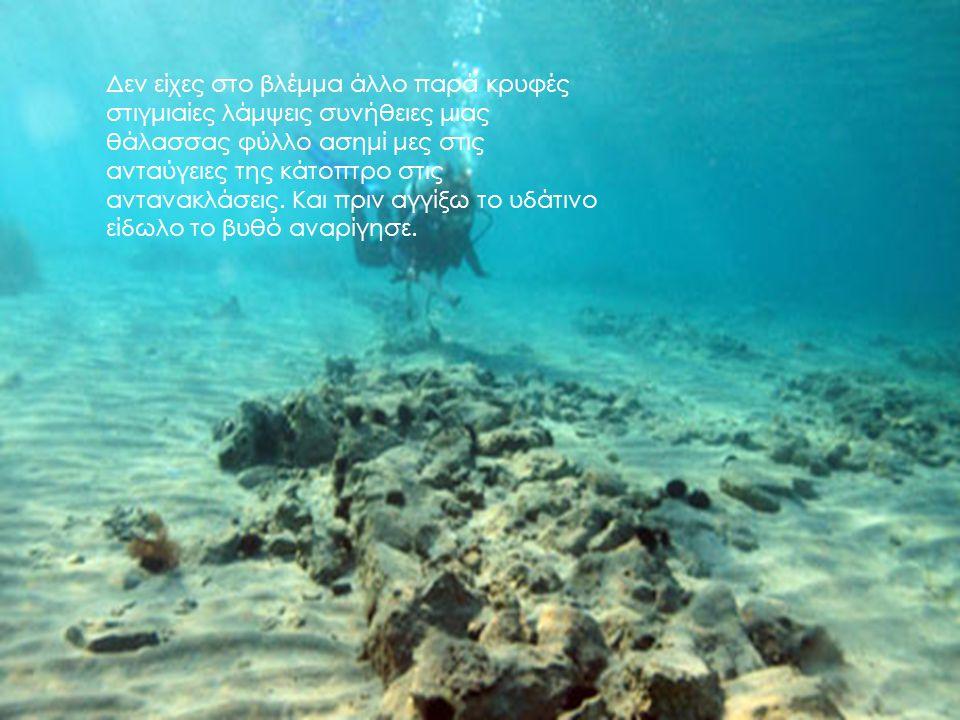 Δεν είχες στο βλέμμα άλλο παρά κρυφές στιγμιαίες λάμψεις συνήθειες μιας θάλασσας φύλλο ασημί μες στις ανταύγειες της κάτοπτρο στις αντανακλάσεις.