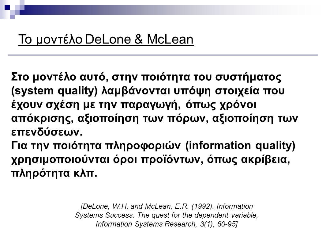 Το μοντέλο DeLone & McLean
