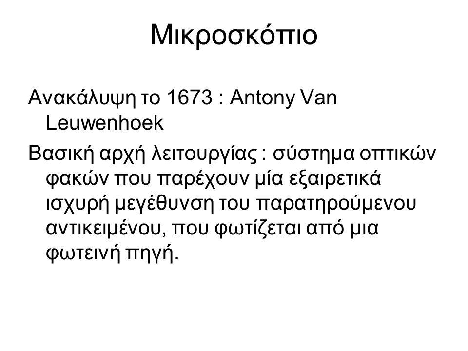 Μικροσκόπιο Ανακάλυψη το 1673 : Antony Van Leuwenhoek