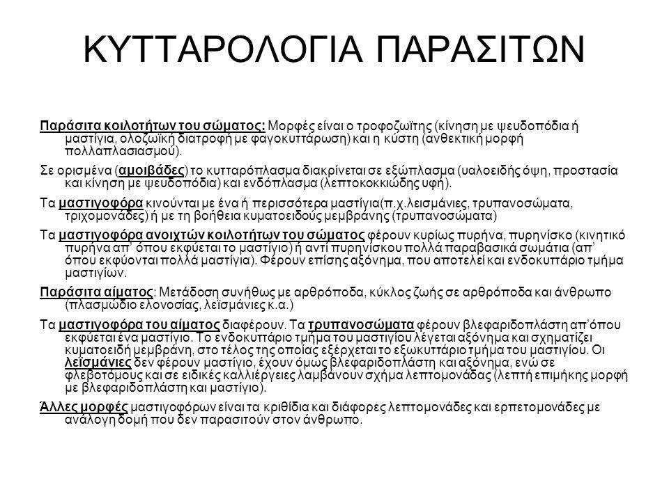 ΚΥΤΤΑΡΟΛΟΓΙΑ ΠΑΡΑΣΙΤΩΝ