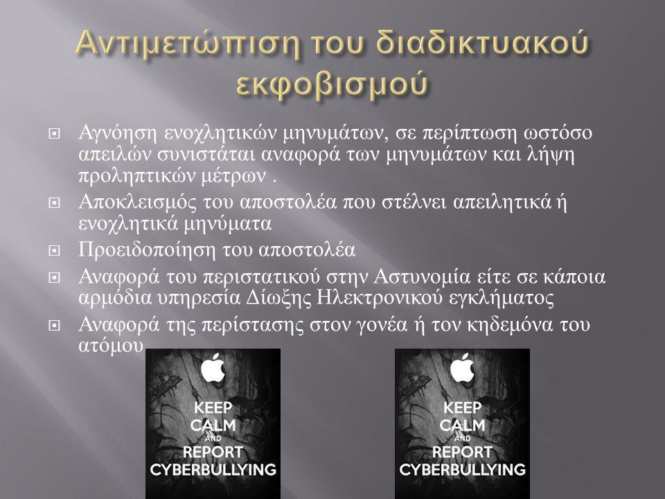 Αντιμετώπιση του διαδικτυακού εκφοβισμού