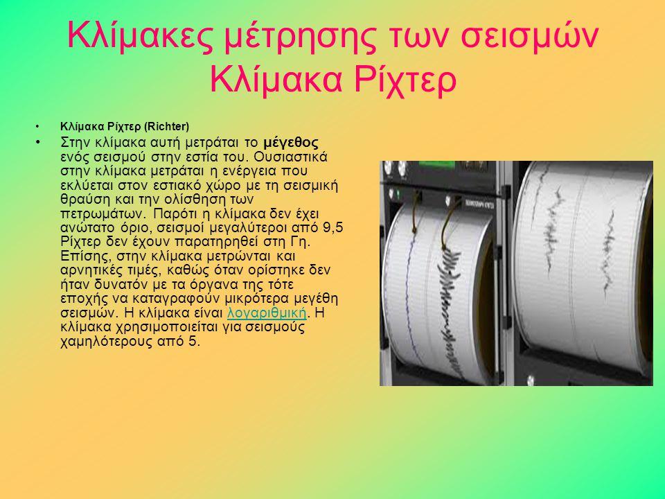 Κλίμακες μέτρησης των σεισμών Κλίμακα Ρίχτερ