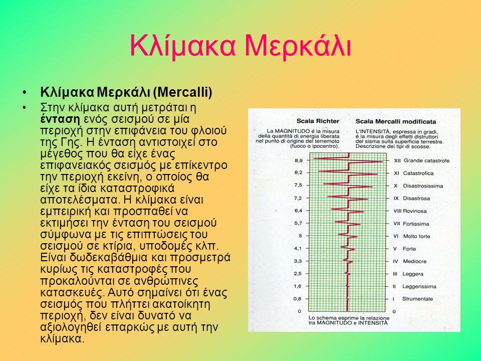 Κλίμακα Μερκάλι Κλίμακα Μερκάλι (Mercalli)