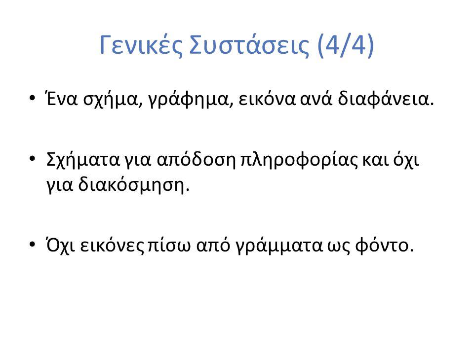 Γενικές Συστάσεις (4/4) Ένα σχήμα, γράφημα, εικόνα ανά διαφάνεια.