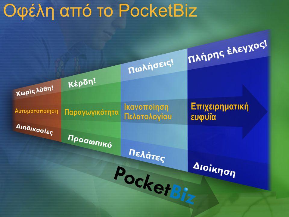 Οφέλη από το PocketBiz Επιχειρηματική ευφυΐα Πλήρης έλεγχος!