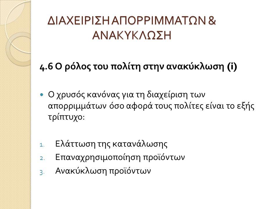 ΔΙΑΧΕΙΡΙΣΗ ΑΠΟΡΡΙΜΜΑΤΩΝ & ΑΝΑΚΥΚΛΩΣΗ