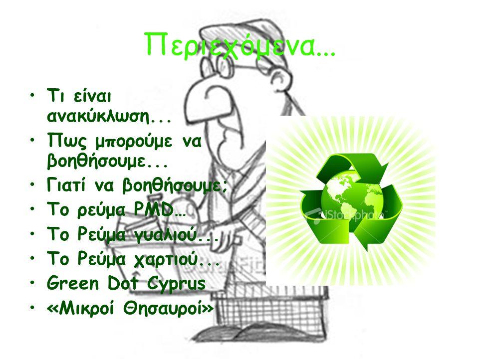 Περιεχόμενα... Τι είναι ανακύκλωση... Πως μπορούμε να βοηθήσουμε...