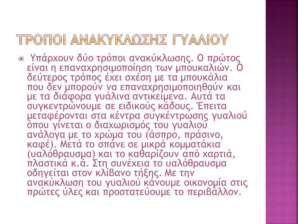 ΤΡΟΠΟΙ ΑΝΑΚΥΚΛΩΣΗΣ ΓΥΑΛΙΟΥ