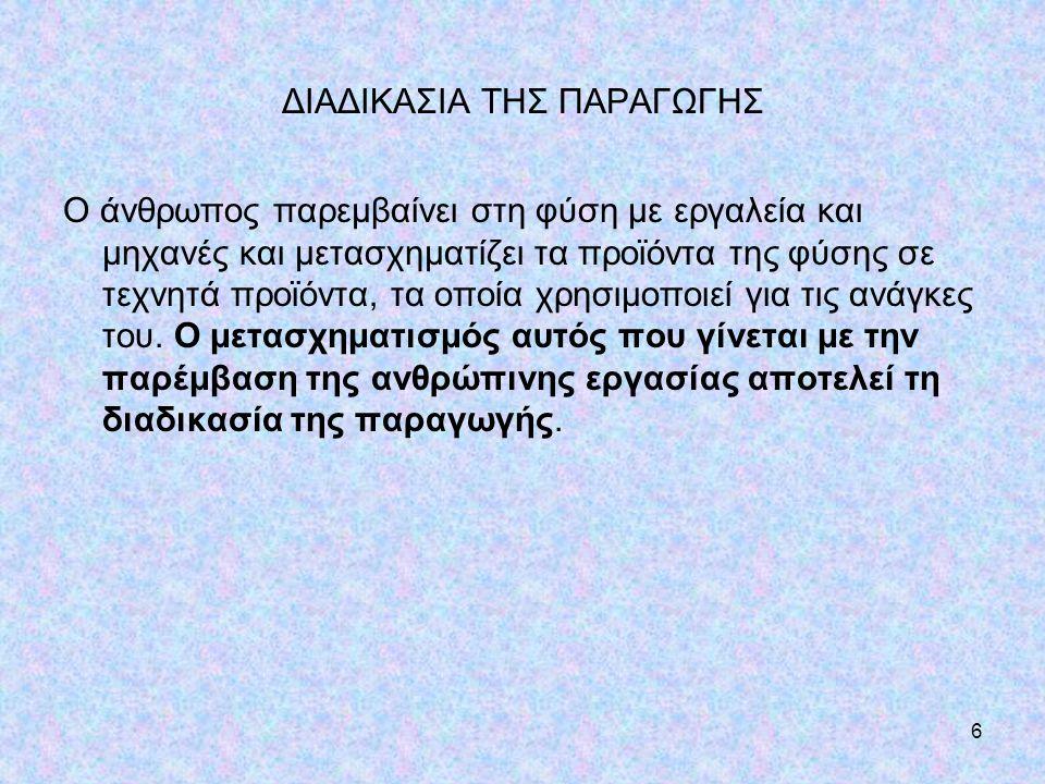 ΔΙΑΔΙΚΑΣΙΑ ΤΗΣ ΠΑΡΑΓΩΓΗΣ