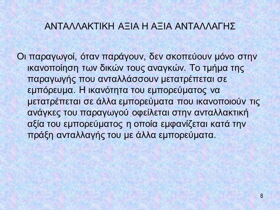 ΑΝΤΑΛΛΑΚΤΙΚΗ ΑΞΙΑ Η ΑΞΙΑ ΑΝΤΑΛΛΑΓΗΣ