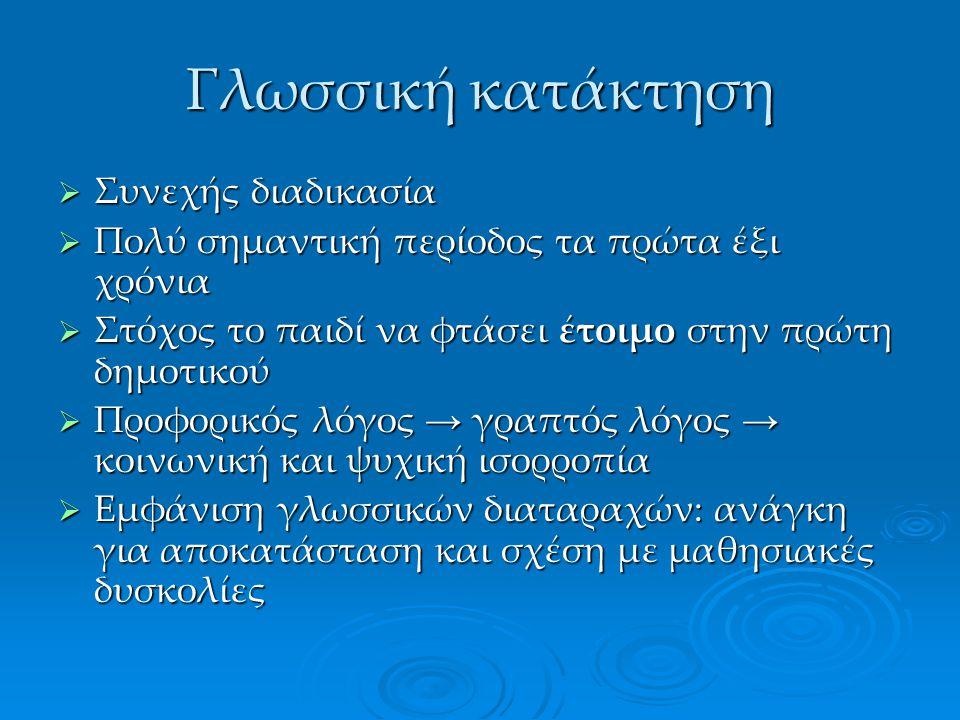 Γλωσσική κατάκτηση Συνεχής διαδικασία