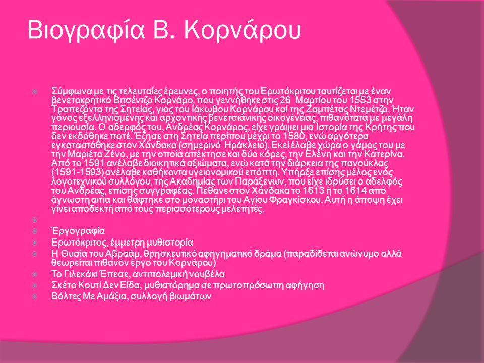 Βιογραφία Β. Κορνάρου