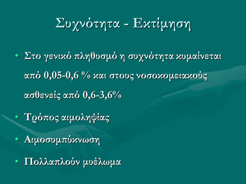 Συχνότητα - Εκτίμηση Στο γενικό πληθυσμό η συχνότητα κυμαίνεται από 0,05-0,6 % και στους νοσοκομειακούς ασθενείς από 0,6-3,6%