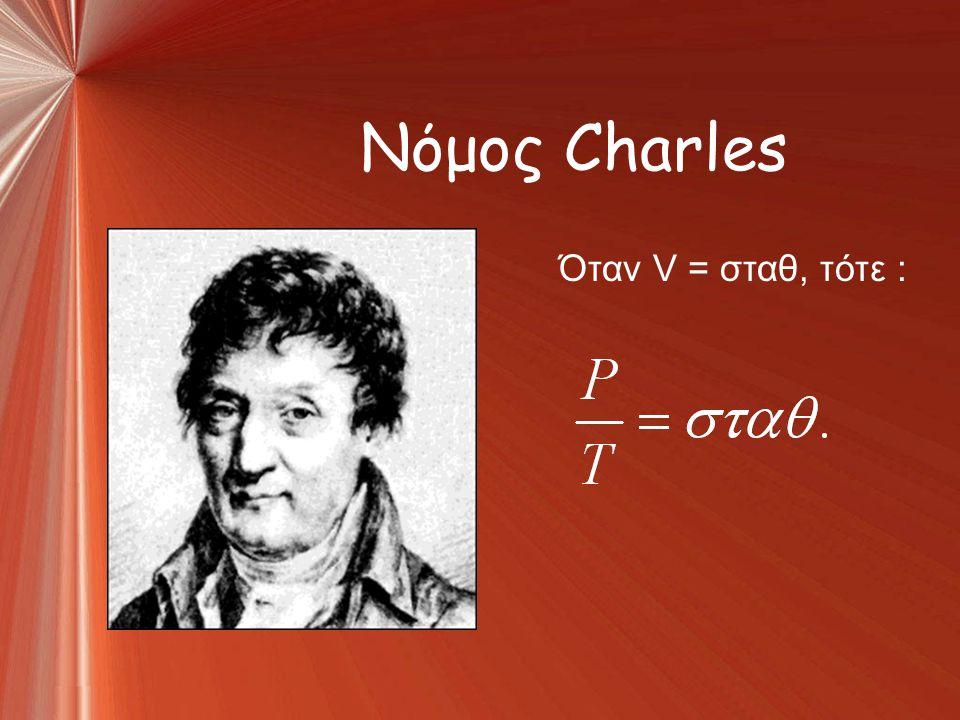 Νόμος Charles Όταν V = σταθ, τότε :