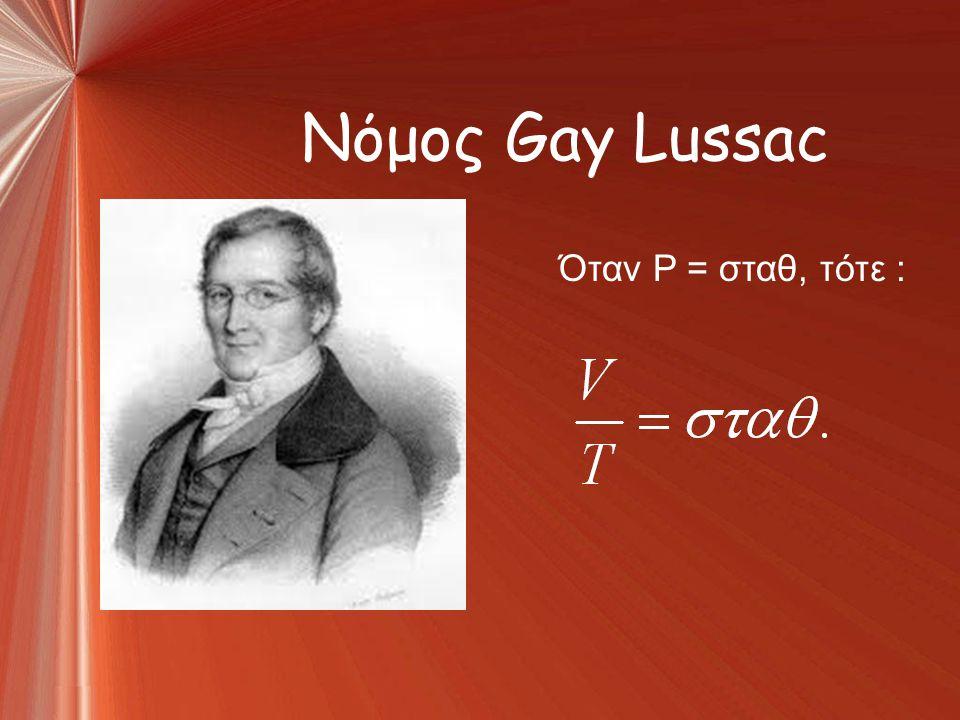 Νόμος Gay Lussac Όταν P = σταθ, τότε :