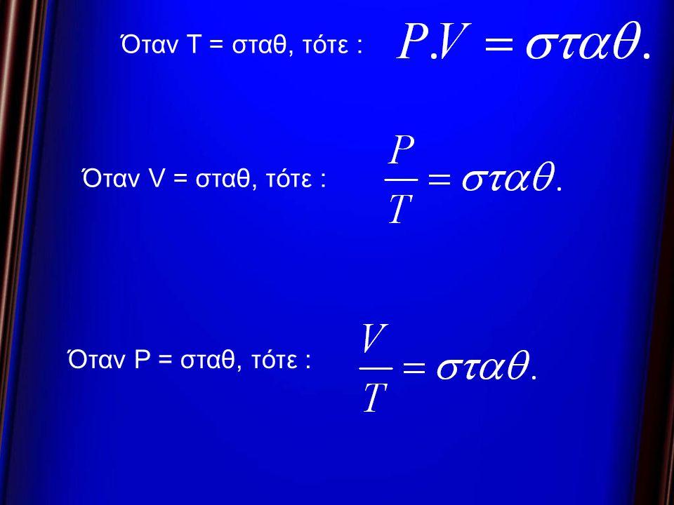 Όταν T = σταθ, τότε : Όταν V = σταθ, τότε : Όταν P = σταθ, τότε :