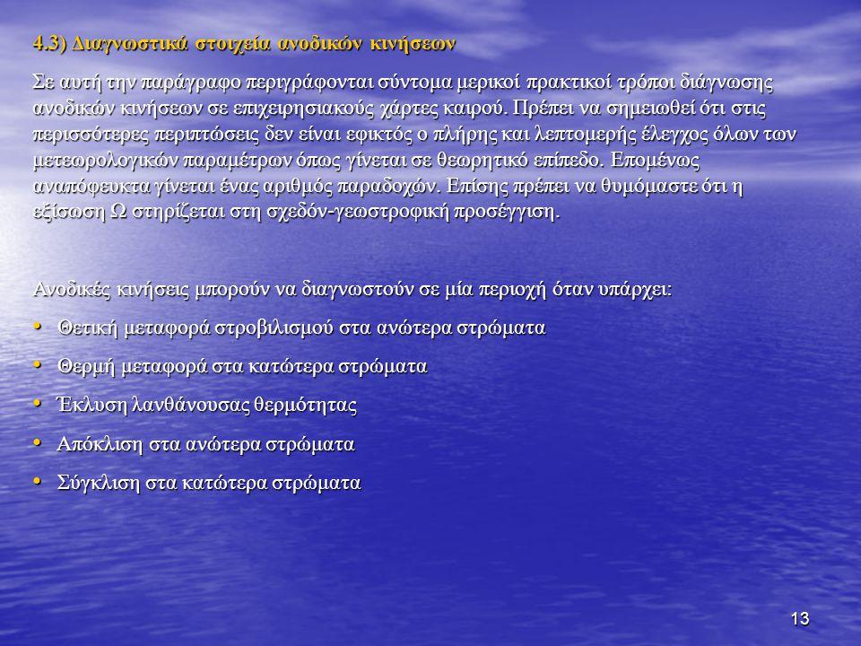 4.3) Διαγνωστικά στοιχεία ανοδικών κινήσεων