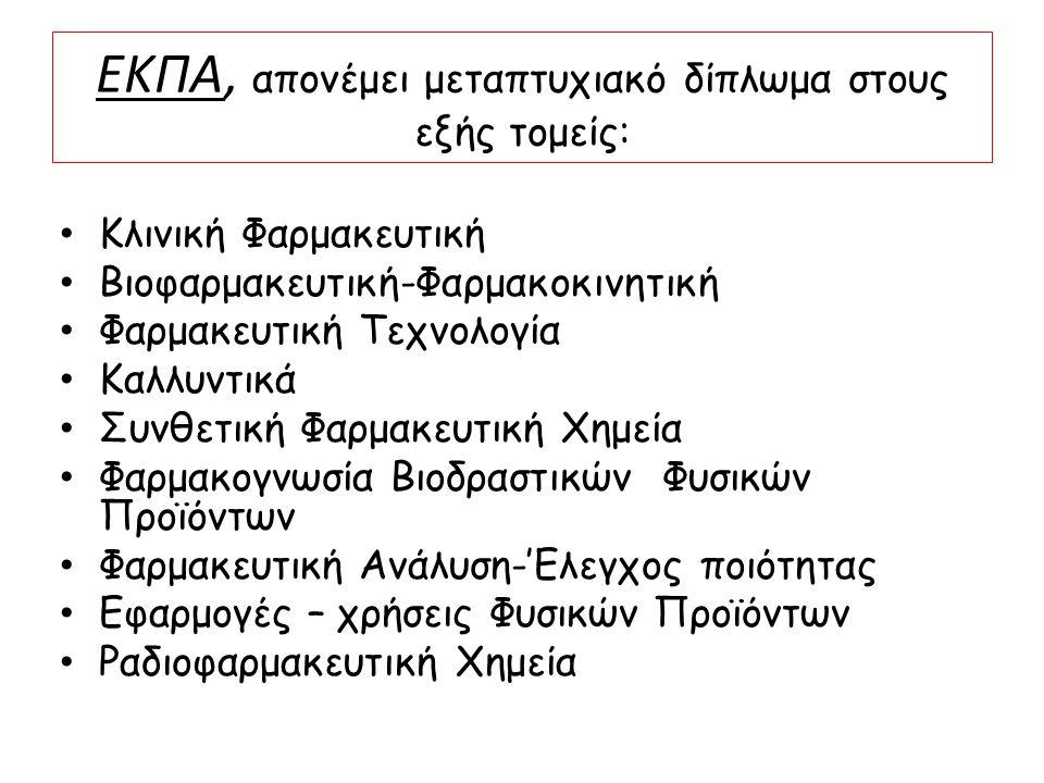 ΕΚΠΑ, απονέμει μεταπτυχιακό δίπλωμα στους εξής τομείς: