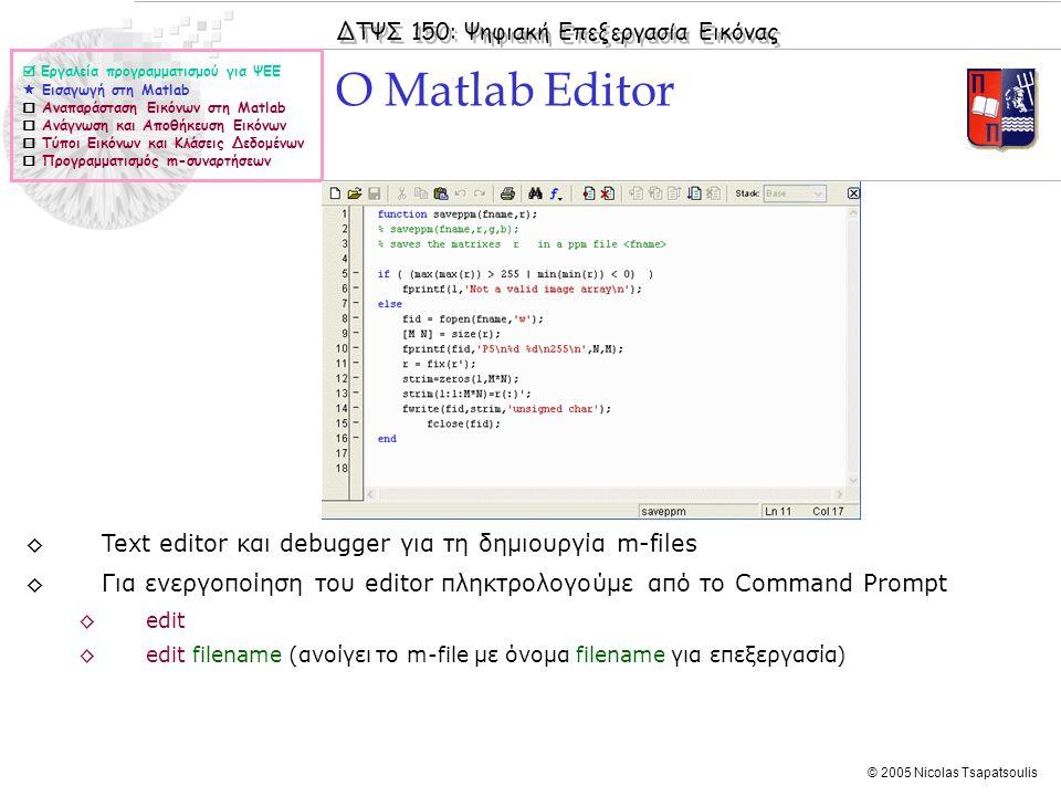 O Matlab Editor Text editor και debugger για τη δημιουργία m-files
