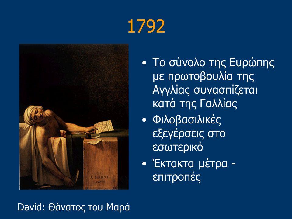 1792 Το σύνολο της Ευρώπης με πρωτοβουλία της Αγγλίας συνασπίζεται κατά της Γαλλίας. Φιλοβασιλικές εξεγέρσεις στο εσωτερικό.
