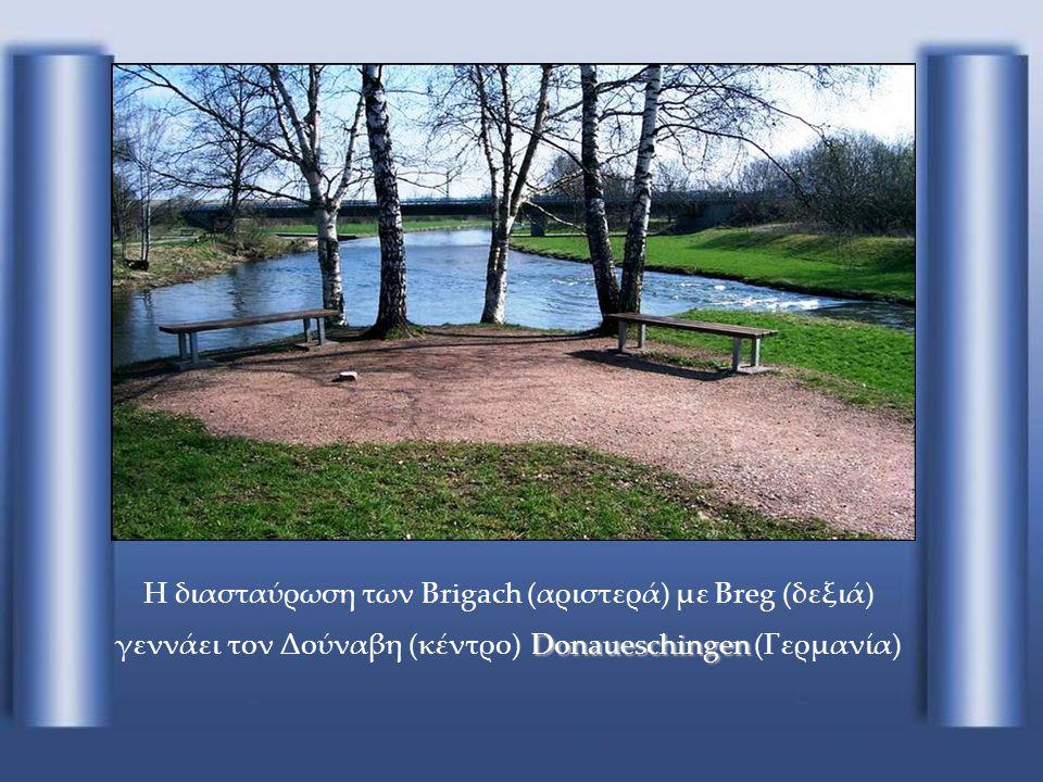 Η διασταύρωση των Brigach (αριστερά) με Breg (δεξιά) γεννάει τον Δούναβη (κέντρο) Donaueschingen (Γερμανία)