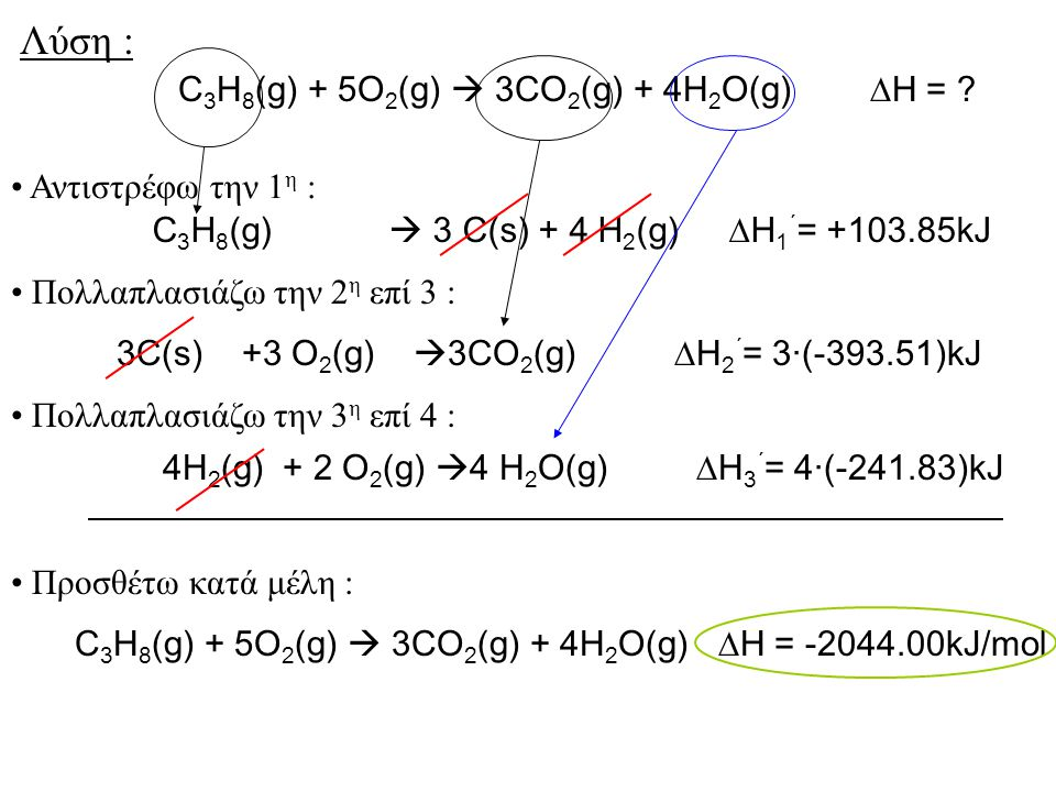 Λύση : C3H8(g) + 5O2(g)  3CO2(g) + 4H2O(g) H =