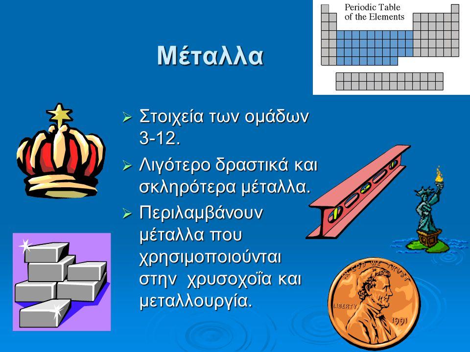 Μέταλλα Στοιχεία των ομάδων 3-12.