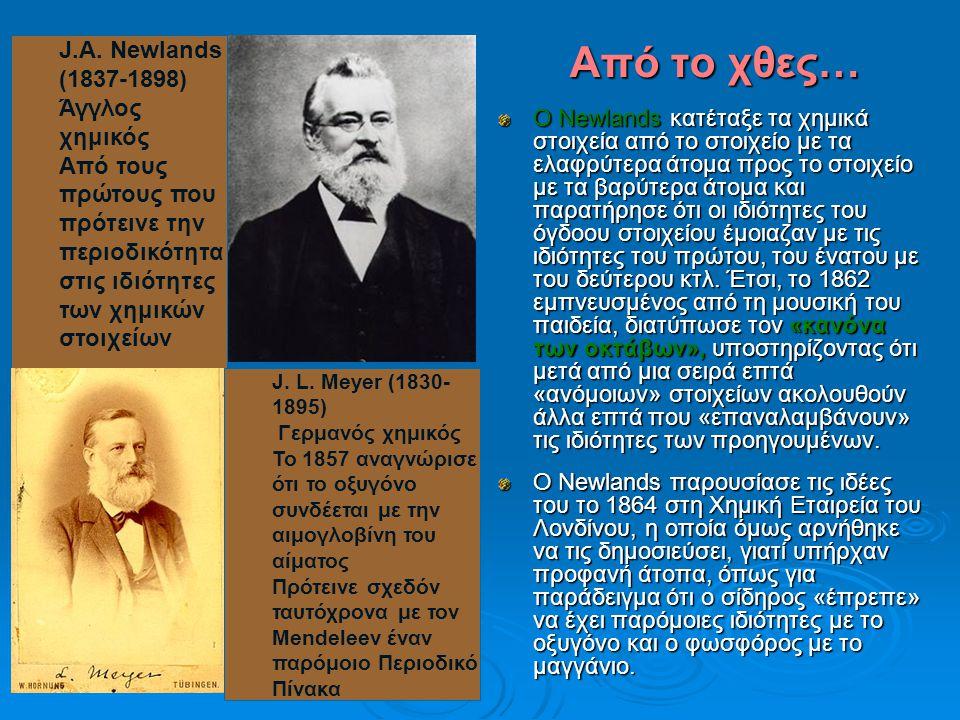 Από το χθες… J.A. Newlands (1837-1898) Άγγλος χημικός