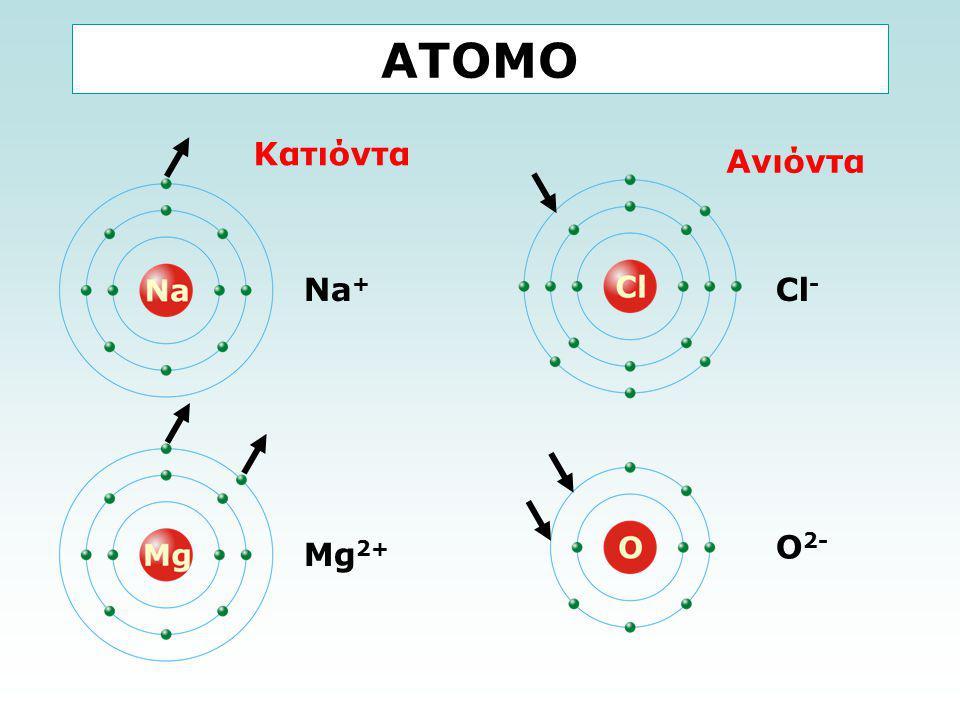 ΑΤΟΜΟ Κατιόντα Ανιόντα Na+ Cl- O2- Mg2+