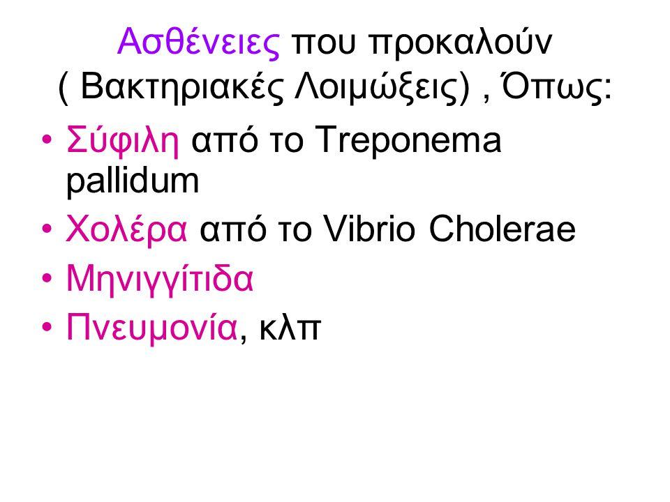 Ασθένειες που προκαλούν ( Βακτηριακές Λοιμώξεις) , Όπως: